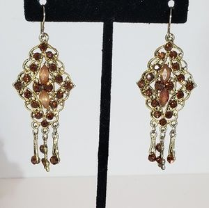 Topaz Hanging Crystal Delicate Earrings